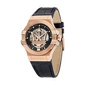 【Maserati 瑪莎拉蒂】POTENZA 經典鏤空機械真皮腕錶/R8821108039/台灣總代理公司貨享兩年保固