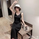 連身裙 2020春裝新款修身針織吊帶連身裙女背心長裙中長款黑色內搭打底裙 爾碩數位