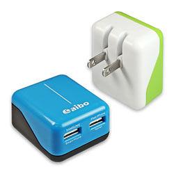 【貓頭鷹3C】aibo AC 轉 USB 2PORT 方塊充電器 - 3100mA[CB-AC-USB-B]
