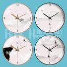 【35CM】掛鐘中式藝術創意時鐘新中式山水客廳臥室靜音鐘錶