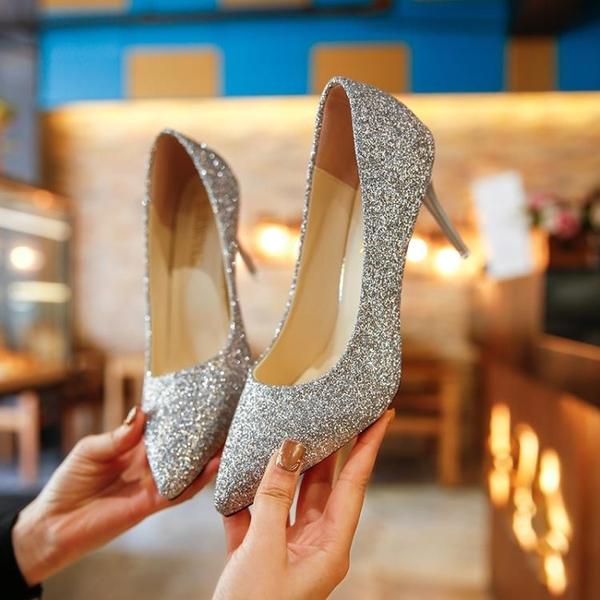 高跟鞋婚禮銀色尖頭高跟鞋亮片婚鞋漸變色細跟單鞋女金色伴娘鞋年會宴會  交換禮物