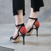 高跟鞋細跟淺口時尚女鞋性感拼色中空