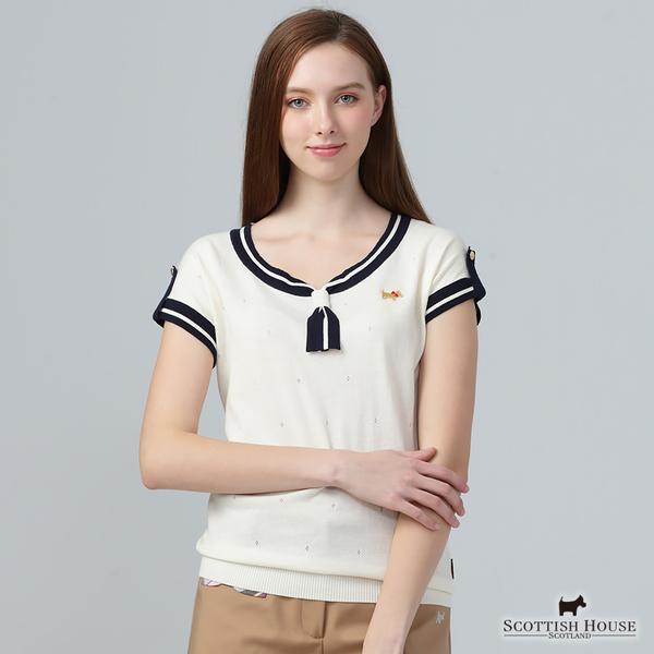 假領巾海洋風設計針織上衣【AE1432】