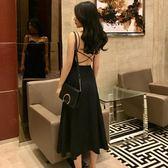 洋裝連身裙-夏秋裝新款chic性感露背交叉綁帶修身顯瘦中長款純色吊帶連身裙女潮Y25777