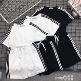 夏季新款時尚闊腿短褲運動套裝女寬鬆休閒原宿風韓版學生bf兩件套   【PINKQ】