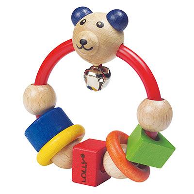 【佳兒園婦幼館】LOLLY 木製玩具-微笑熊搖鈴