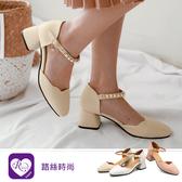 【快速出貨】韓系時尚OL簡約珍珠造型扣環粗高跟包鞋/3色/35-43碼 (RX0761-08-3) iRurus 路絲時尚