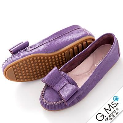 G.Ms. 雙層蝴蝶結真皮莫卡辛豆豆鞋‧ 葡萄紫