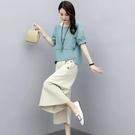 棉麻套裝2021年新款女裝夏裝時尚職業兩件套洋氣減齡休閒寬管褲夏 設計師