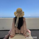 網紅草帽女韓版夏季蕾絲系帶沙灘帽小清新度假涼帽防曬遮陽帽子潮