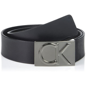 CK 時尚黑色CK牌匾真皮皮帶