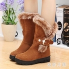 中筒靴 短靴女鞋雪地靴冬季年新款棉鞋加絨冬鞋皮毛一體厚底百搭 DR32187【衣好月圓】