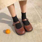 圓頭娃娃鞋女韓版復古平底休閒單鞋小皮鞋【南風小舖】