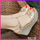 坡跟涼鞋女粗跟正韓新款夏季新款性感百搭仙女風鬆糕厚底中高跟鞋『櫻花小屋』
