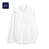Gap男裝 基礎款純棉長袖休閒襯衫 500049-光感白