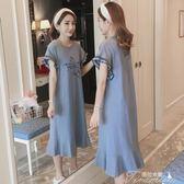 孕婦洋裝 夏季新款孕婦裝韓版印花中長款洋裝孕婦時尚寬鬆短袖T恤裙  提拉米蘇