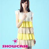 【SHOWCASE】純棉柔感配色荷葉層次短洋裝(卡其)