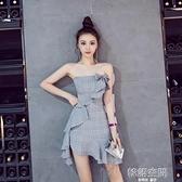 2021新款法式復古裙性感蝴蝶結抹胸收腰顯瘦荷葉邊不規則洋裝