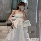 小禮服 抹胸連身裙女夏季2021新款法式復古氣質輕熟白色裹胸長款裙子禮服 曼慕
