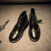 馬丁靴 雕花-時尚漆皮休閒潮流男中筒靴3色73kw42[巴黎精品]