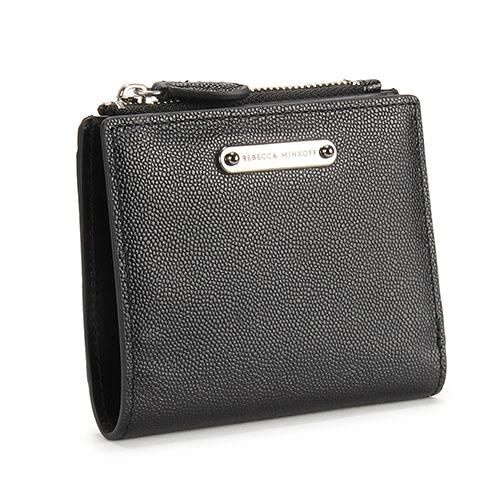Rebecca Minkoff BI-FOLD高質感顆粒細紋皮革拉鍊零錢包短夾(黑色)220125