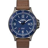 TIMEX 天美時 槍灰色藍面大三針數字皮帶潛水錶 43mm 夜光面板 TXTW4B10700 公司貨 | 名人鐘錶