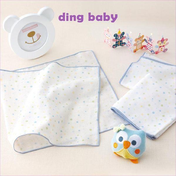 純棉紗布澡巾-藍點-3入/台灣製嬰兒寶寶用品浴巾洗臉巾 dingbaby C-4712928920228