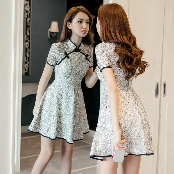VK旗艦店 韓國風復古旗袍顯瘦蕾絲繡花短袖洋裝
