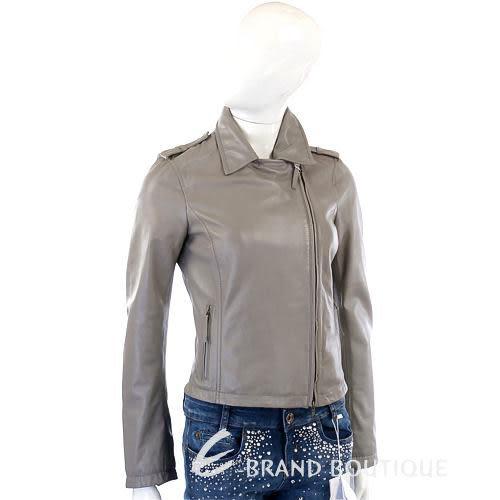 MARELLA 灰色不對稱拉鍊小羊皮外套 1210353-06