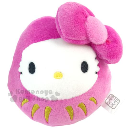 〔小禮堂〕Hello Kitty 絨毛娃娃吊飾《粉.招福達摩不倒翁.大緞帶》新年系列 4991567-26286