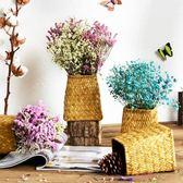 干花花束客廳家居擺設裝飾風干真花勿忘我滿天星帶花瓶diy插花
