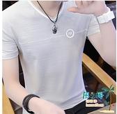 V領T恤 男士短袖T恤夏季純棉V領潮流韓版半袖碎花冰絲上衣服 【風之海】