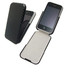 iPhone 4 專用碳纖維紋路上掀式手機皮套(吊卡包裝) 『免運優惠』