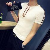 夏季男士短袖t恤韓版修身圓領半袖男裝體恤潮流打底衫休閒上衣服   檸檬衣舍