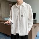 襯衫男士2020秋季新款長袖襯衣韓版潮流帥氣秋裝上衣白色休閒外套 果果輕時尚