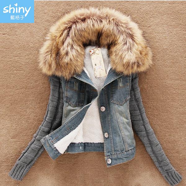 【V3062】shiny藍格子-簡搭風格.毛領拼接袖牛仔外套