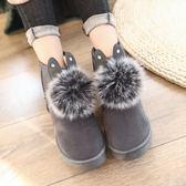鞋子女冬加絨雪地靴女鞋棉鞋短靴毛毛鞋可愛兔耳朵中筒靴子學生鞋