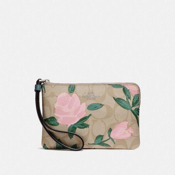 美國 COACH 經典金屬馬車LOGO 牛皮拉鏈手拿包/零錢包/萬用包 (花朵綠葉)