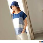 《AB15568-》長版造型配色拼接條紋口袋短袖上衣 OB嚴選
