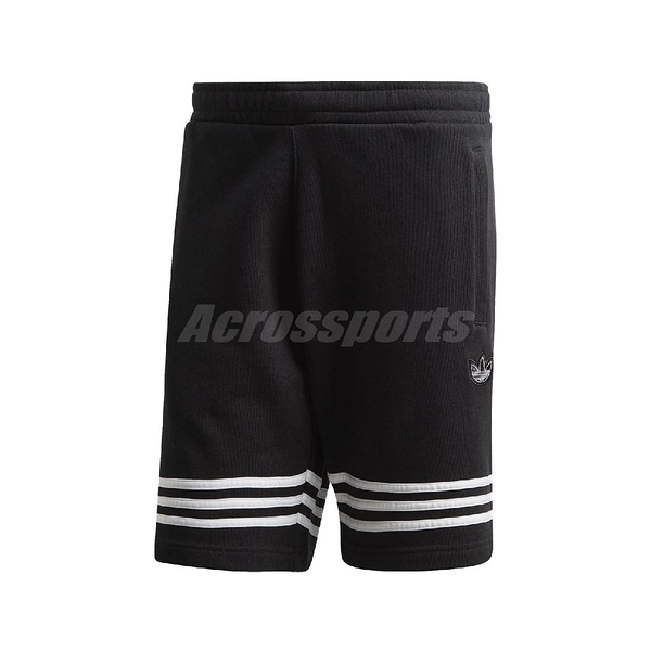 adidas 短褲 Outline Shorts 黑 白 男款 棉褲 運動休閒 【PUMP306】 FM3877