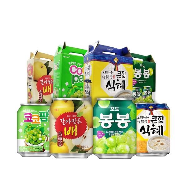 【韓國Haitai】海太果粒果汁飲(葡萄/椰果/水梨/甜米釀)12罐箱裝