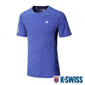 【超取】K-SWISS KS W/5 Stripe Tee排汗T恤-男-藍