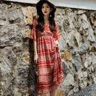Qmigirl 度假風紅色裙子超仙女收腰沙灘雪紡長裙 連身裙【T736】