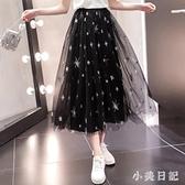 紗裙女半身裙2020春夏新款星星網紗裙仙女超仙森系學生氣質長裙 LF6455『小美日記』