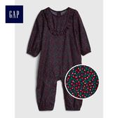 Gap女嬰兒 櫻桃圖案荷葉邊長袖一件式包屁衣 400180-海軍藍色