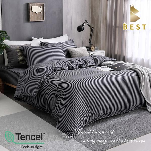【BEST寢飾】天絲涼被床包四件組 雙人5x6.2尺 西舍-黑 100%頂級天絲 萊賽爾 附天絲吊牌