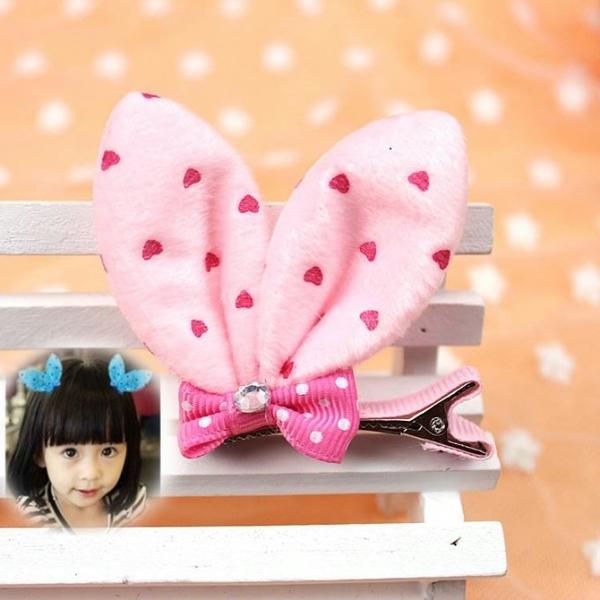 毛絨兔耳朵蝴蝶結髮夾 表演穿搭配件(粉紅色1個)-艾發現