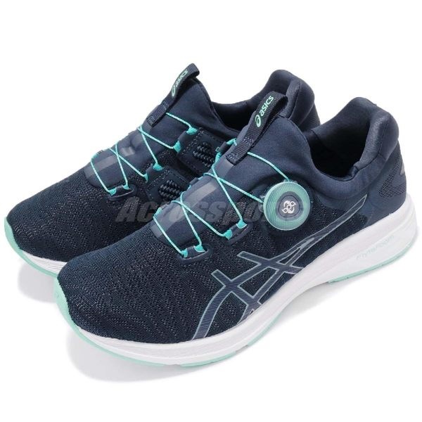 【五折特賣】Asics 慢跑鞋 Dynamis 藍 白 運動鞋 BOA 旋鈕系統 免綁鞋帶 女鞋【PUMP306】 T7D6N-4901