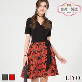 LIYO理優MIT假兩件式印花洋裝626038
