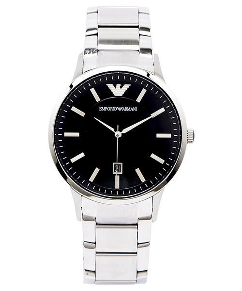 EMPORIO ARMANI Sportivo沉靜摩登男性簡約手錶飾品 (AR2457)-黑面X銀色/43mm